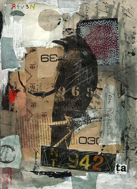 Autographed PRINT art from Original abstract collage